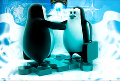 3d penguin shaking hand standing on puzzle shape illustration Royalty Free Stock Images