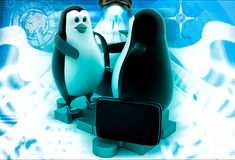 3d penguin shaking hand standing on puzzle shape illustration Stock Photo