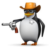 3d Penguin is sheriff Royalty Free Stock Photos