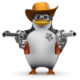 3d Penguin sheriff with two guns Royalty Free Stock Photography