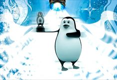 3d penguin showing penguin cinema award in hand illustration Stock Photo