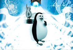 3d penguin showing penguin cinema award in hand illustration Royalty Free Stock Image