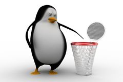 3D Penguin with , Shuttlecocks and badminton racket on a basket Stock Photo