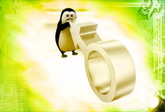 3d penguin with silver male symbol illustration Royalty Free Stock Photo