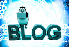 3d penguin sitting on blog font text and working on laptop illustration Royalty Free Stock Photo