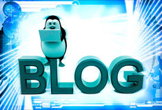 3d penguin sitting on blog font text and working on laptop illustration Stock Photography