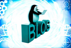 3d penguin sitting on blog font text and working on laptop illustration Stock Photo