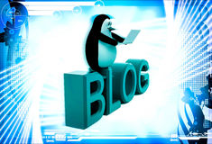3d penguin sitting on blog font text and working on laptop illustration Royalty Free Stock Images