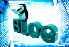 3d penguin sitting on blog font text and working on laptop illustration Stock Images