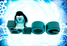 3d penguin sitting on blog font text and working on laptop illustration Stock Image
