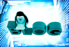 3d penguin sitting on blog font text and working on laptop illustration Royalty Free Stock Image