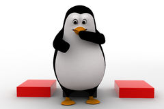 3d penguin sitting on cube and thinking concept Royalty Free Stock Photos