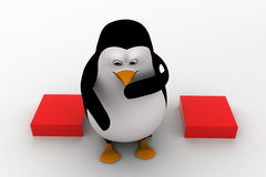 3d penguin sitting on cube and thinking concept Royalty Free Stock Photo