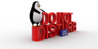 3d penguin sitting on  do not disturb text concept Stock Photo
