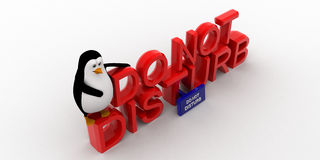 3d penguin sitting on  do not disturb text concept Stock Image