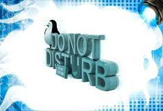 3d penguin sitting on  do not disturb text illustation Royalty Free Stock Photography