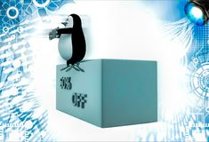 3d penguin sitting on height and holding 50 % save text illustration Royalty Free Stock Images