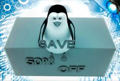 3d penguin sitting on height and holding 50 % save text illustration Stock Image