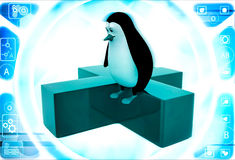 3d penguin sitting on red plus symbol illustration Royalty Free Stock Photography
