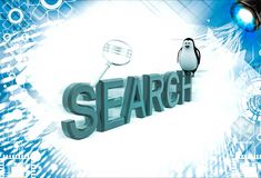 3d penguin sitting on search text with magnifying glass illustration Stock Photos