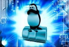 3d penguin sitting steel barrel illustration Royalty Free Stock Photo