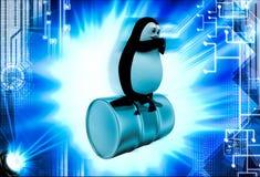 3d penguin sitting steel barrel illustration Stock Photography
