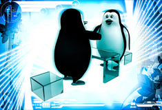 3d penguin sitting on table of glass and shaking hand illustration Stock Photo