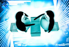 3d penguin sitting on table of glass and shaking hand illustration Stock Images