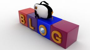 3d penguin sleeping blog cubes concept Stock Images