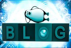 3d penguin sleeping blog cubes illustration Stock Image