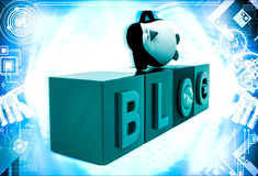3d penguin sleeping blog cubes illustration Stock Photography