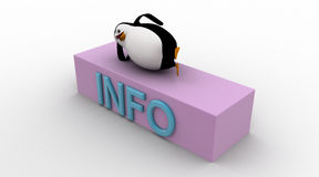 3d penguin sleeping on info icon concept Royalty Free Stock Photo