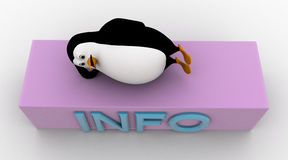 3d penguin sleeping on info icon concept Stock Image