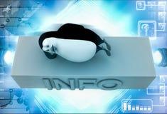 3d penguin sleeping on info icon illustration Stock Photo