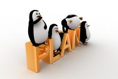 3d penguin sleeping on and standing on plan text concept Stock Photo