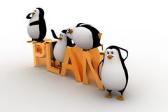 3d penguin sleeping on and standing on plan text concept Stock Photos