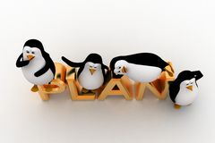 3d penguin sleeping on and standing on plan text concept Stock Image