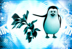 3d penguin with small green plant illustration Stock Photos
