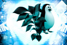 3d penguin with small green plant illustration Stock Photo
