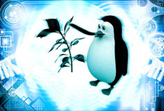 3d penguin with small green plant illustration Stock Image