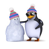 3d Penguin and snowman Stock Images