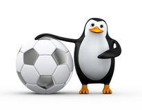3d penguin soccer player with large football. 3d illustration of penguin standing and pointing to soccer football ball Royalty Free Stock Photos