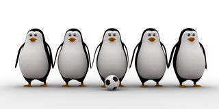 3d penguin soccer team concept Royalty Free Stock Photography