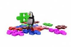 3d penguin solve puzzle concept Stock Images