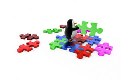 3d penguin solve puzzle concept Royalty Free Stock Images