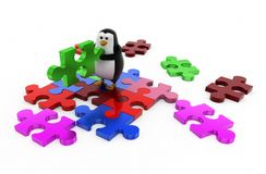 3d penguin solve puzzle concept Royalty Free Stock Photos