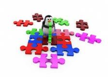 3d penguin solve puzzle concept Royalty Free Stock Photo