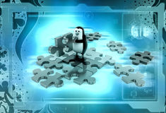 3d penguin solve puzzle illustration Royalty Free Stock Photos