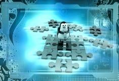3d penguin solve puzzle illustration Stock Images