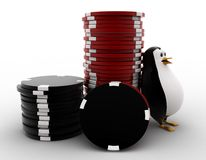 3d penguin with stack of red and black dices concept Stock Images